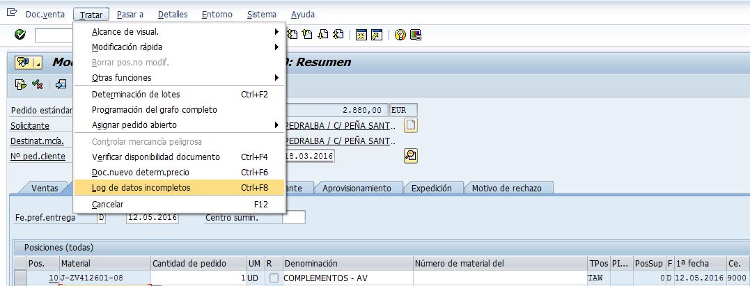 SAP MM, log de datos incompletos