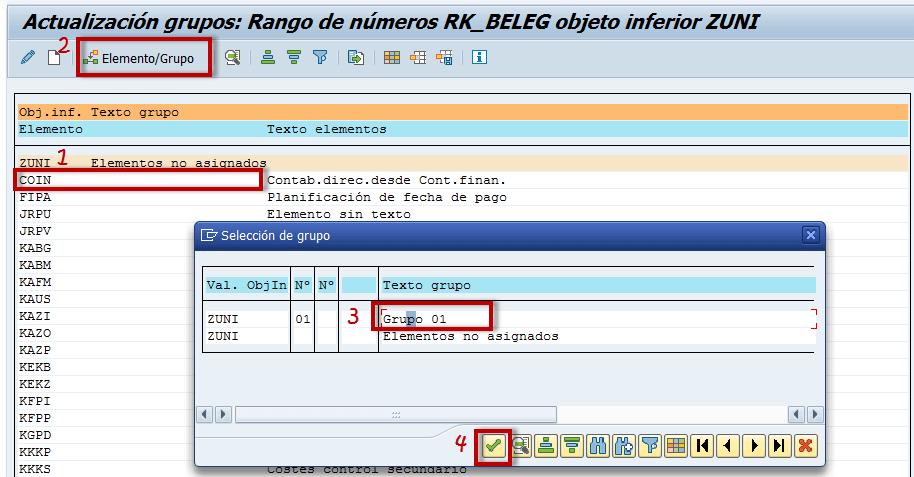 SAP CO, actualización de elementos de grupo
