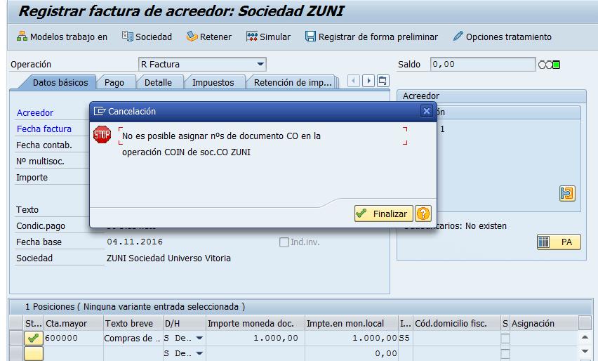 SAP CO, registro de facturas por acreedores