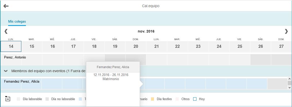 SAP Fiori, calendario de equipo