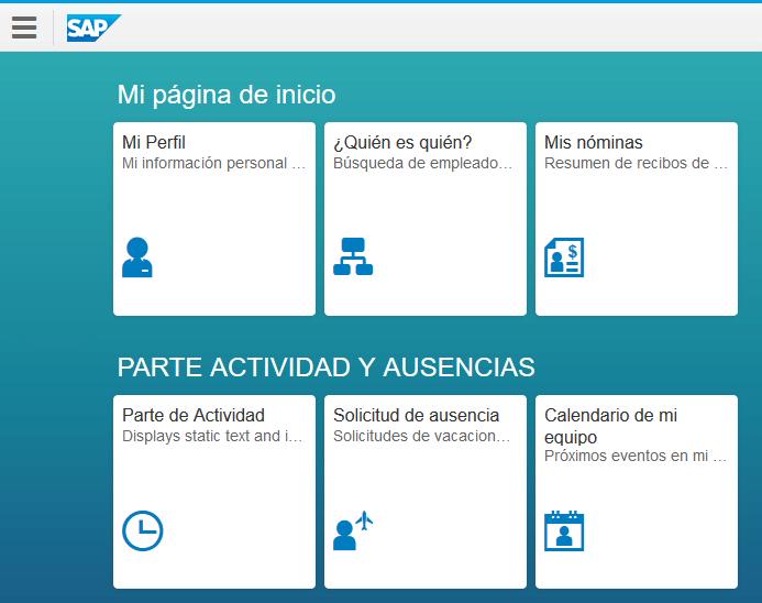 Ventana principal de aplicaión SAP Fiori