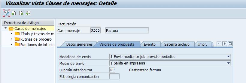 Vista de las clases de mensajes SAP