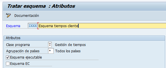 SAP HCM, esquema de tiempos de cliente