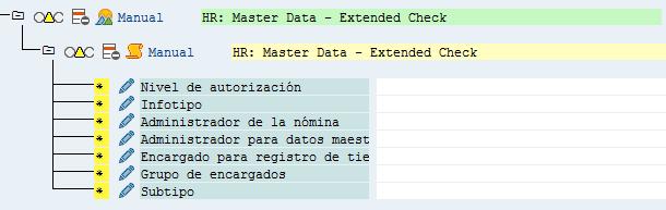 SAP HCM, muestra de los campos del infotipo de Asignación Organizativa