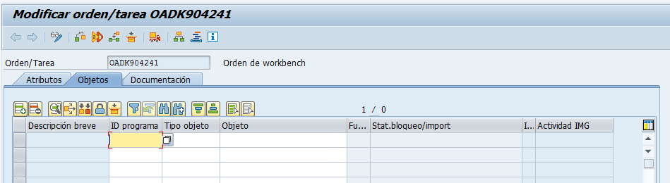 Incluir objetos en orden de transporte SAP