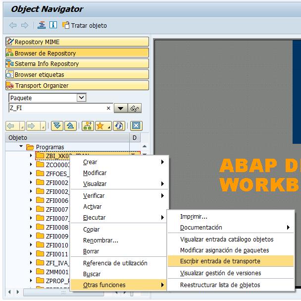 Entrada de transporte para objetos SAP