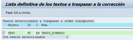 SAP HCM, listado definitivo de textos a transportar