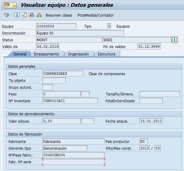 SAP PM, visualizar datos de equipos