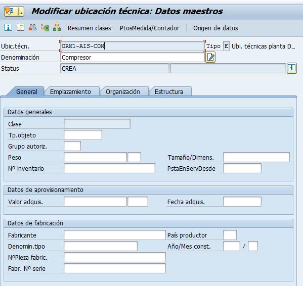 Datos maestros en la ficha de ubicación técnica