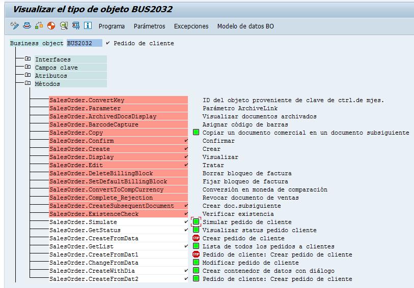 Visualizar métodos de objetos dentro de una BAPI en SAP