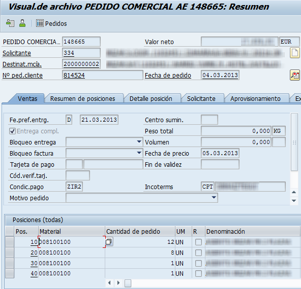 Archivado en SAP, documento de venta