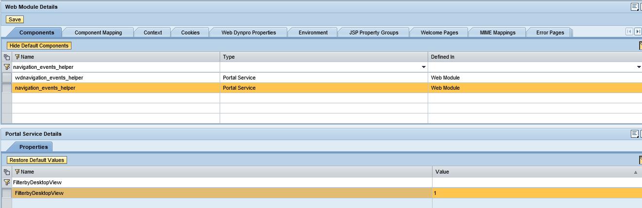 SAP Portal, Filtrados