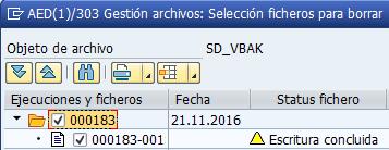 Archivado en SAP, selección de ficheros