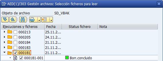 Archivado en SAP, seleccionar fichero