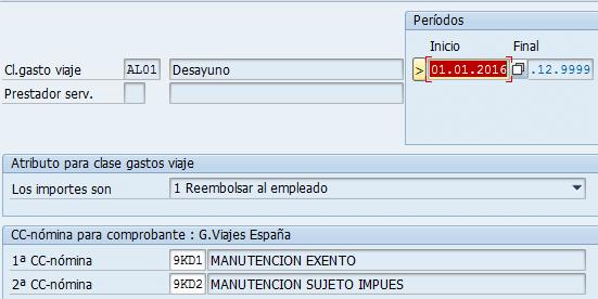 SAP clases de gastos, CC nómina