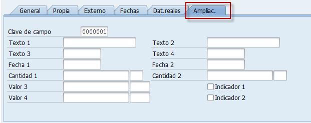 Campos de usuario SAP, órdenes ampliación