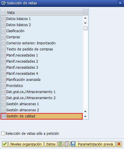 Módulo SAP QM, selección de vistas