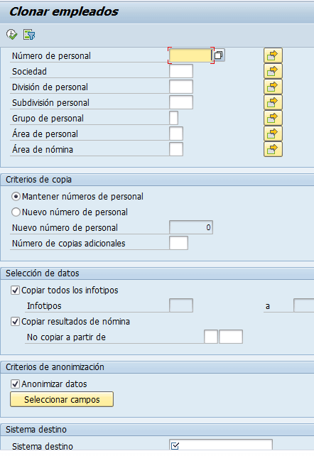 SAP HCM, clonado de empleados