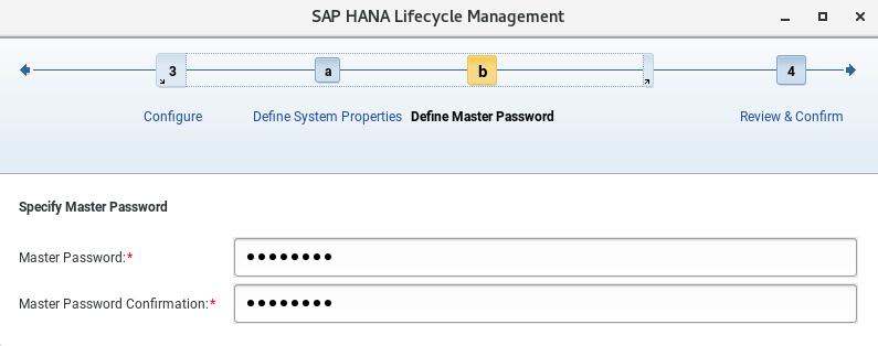 Configuración de contraseña maestra en SAP Hana Cockpit