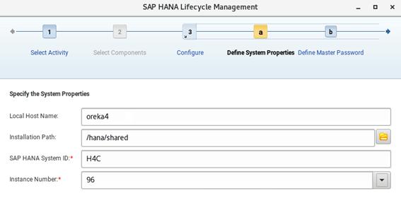 Propiedades de instalación en SAP Hana Cockpit