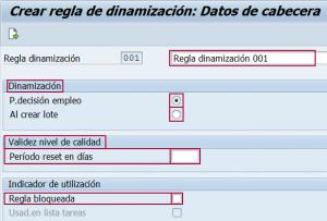 Datos de cabecera de la regla de dinamización