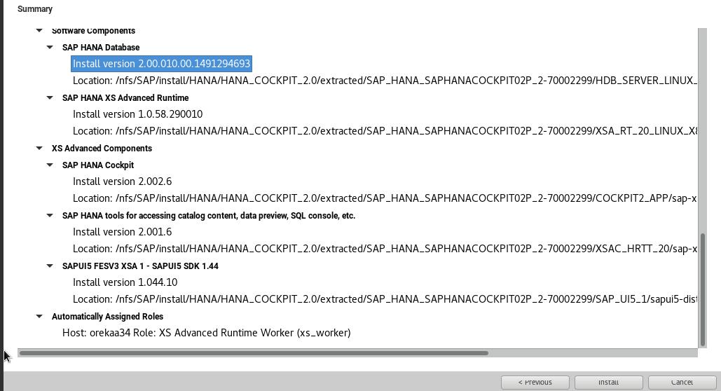Resumen parámetros de instalación Cockpit 2.0