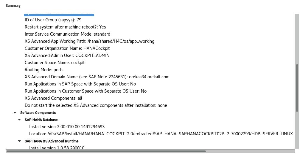 Resumen de instalación de Cockpit 2.0