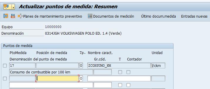 Acceso a los puntos de medida en SAP