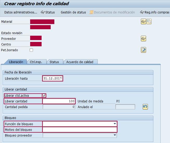 Función de bloqueo para el registro info