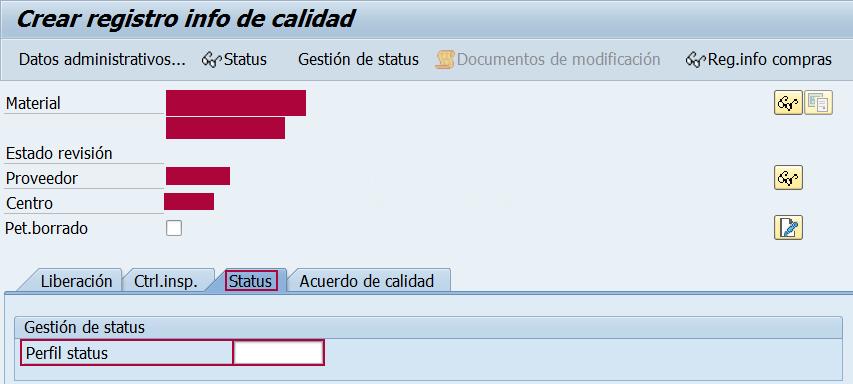 Módulo SAP QM, esquema de status del registro info