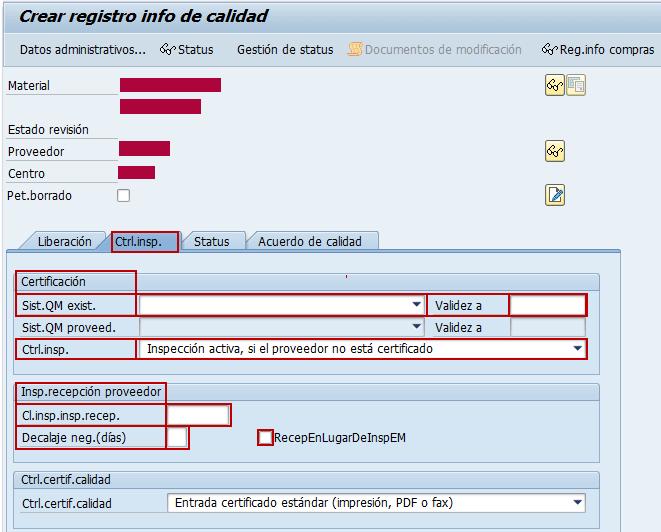 SAP QM, inspección de recepción del registro info