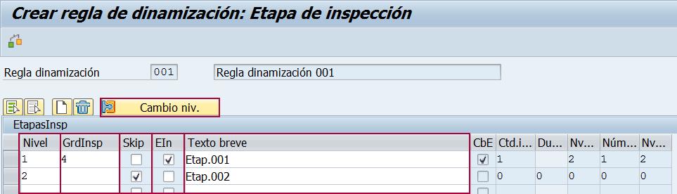 Etapa de inspección de la regla de dinamización