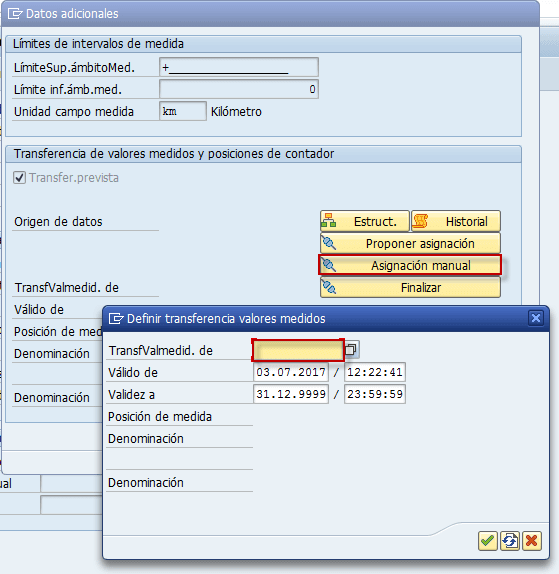 SAP PM, asignación manual de los puntos de medida