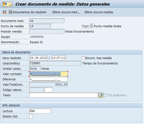 SAP PM, documentos de medición