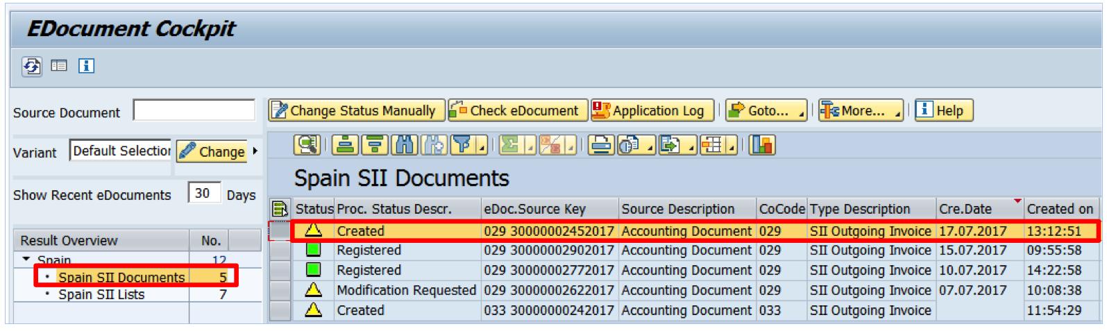 eDocument creado en SAP FI para el envío de facturas