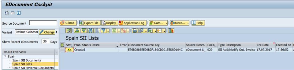 Listas creadas y no enviadas a la AEAT con SAP