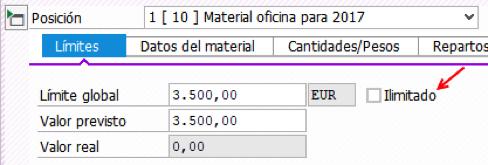 Límites y valor en 'pedido límite' SAP MM S/4HANA