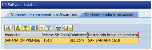 Status del sistema S4/HANA