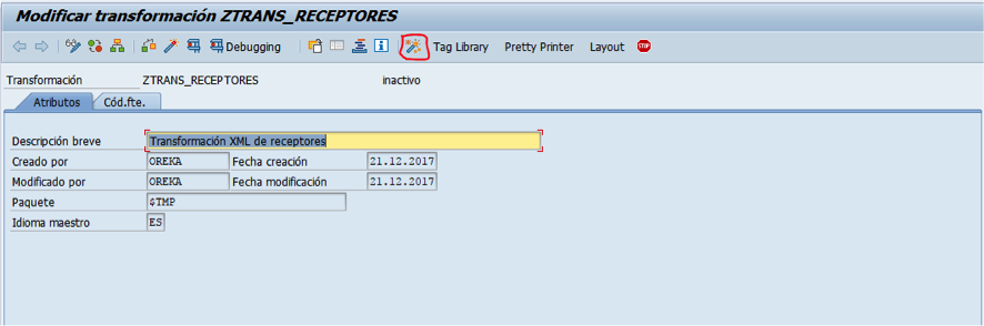 SAP - lógica de transformación simple - XML