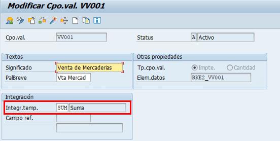 Parametrización cuenta de resultados en SAP - Definición de campo de valor tipo suma