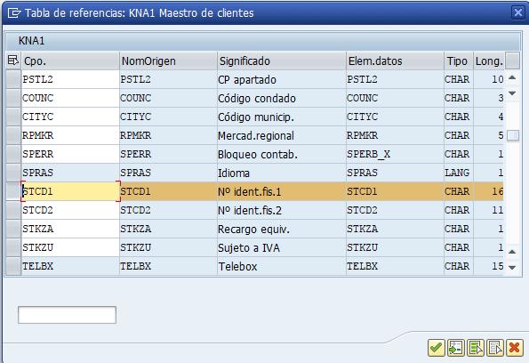 Parametrización cuenta de resultados en SAP - Selección característica NIF