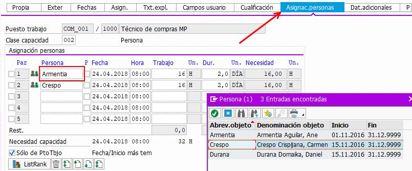 SAP PS Capacidad Individual - Asignación de Personas a Operación
