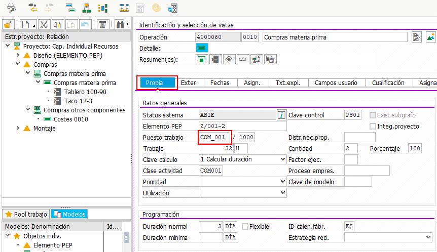 SAP PS Capacidad Individual - Puesto de trabajo en Operación