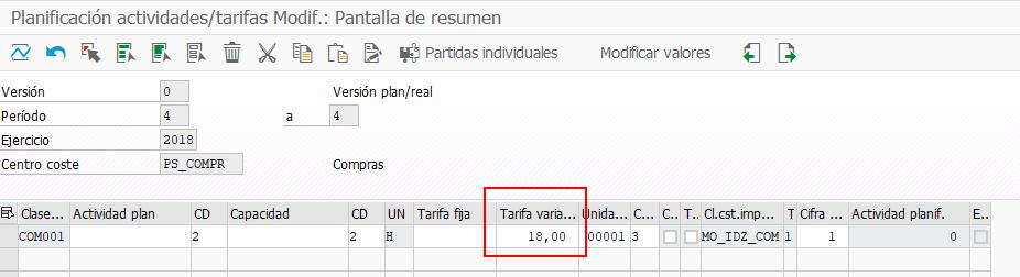 SAP PS Capacidad Individual - Vista Planificación de Tarifas