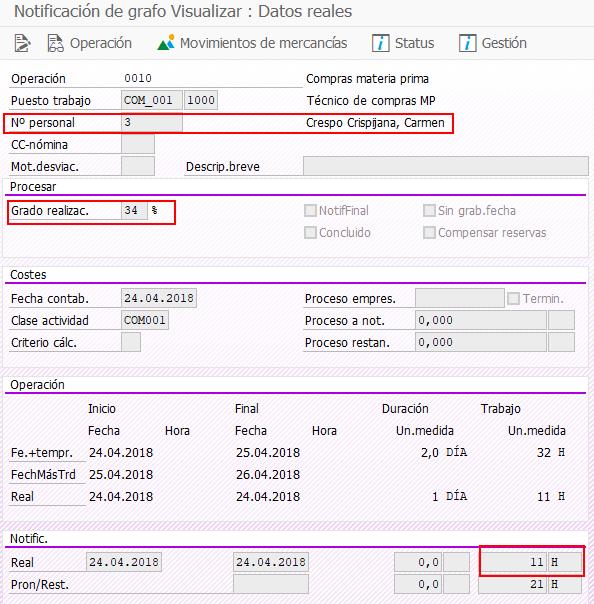 SAP PS Capacidad Individual - Visualización de Notificación de PS