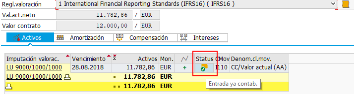 SAP RE-FX REAL ESTATE MANAGEMENT PARA IFRS 16 - CONSULTA DE ESTADO CONTABLE