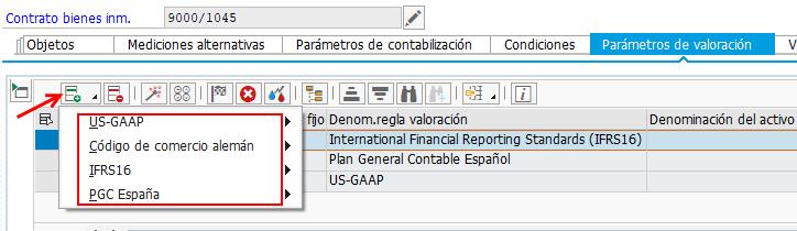 SAP RE-FX REAL ESTATE MANAGEMENT PARA IFRS 16 - SELECCIÓN DE PARÁMETROS DE VALORACIÓN