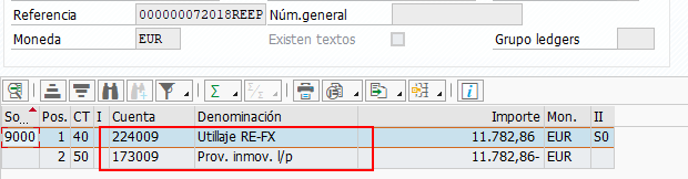 SAP RE-FX REAL ESTATE MANAGEMENT PARA IFRS 16 - VISTA DE ASIENTO CONTABLE DENOMINACION