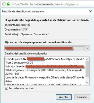 SAP Passport para acceder a la pagina de SAP mediante certificado - Selección de certificado