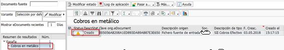 Libro de operaciones - rascendencia tributaria - cobros en metálico - Transacción EDOC_COCKPIT
